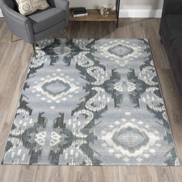 Pewter, Grey, Ivory Outdoor / Indoor Area Rug