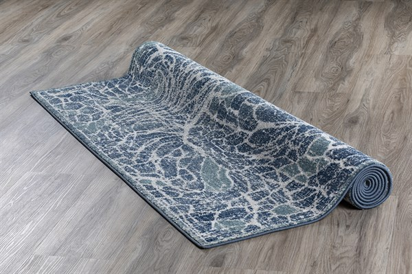 Blue, Teal, Silver, Ivory Contemporary / Modern Area Rug