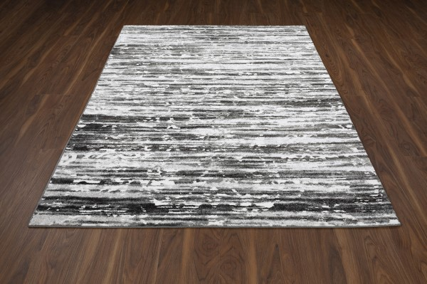 Pewter, Gray, Silver, Ivory, Charcoal Contemporary / Modern Area Rug