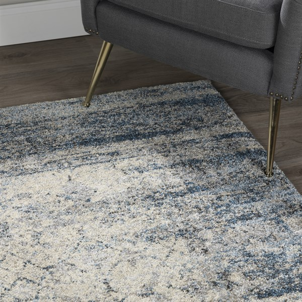 Silver, Blue Vintage / Overdyed Area Rug