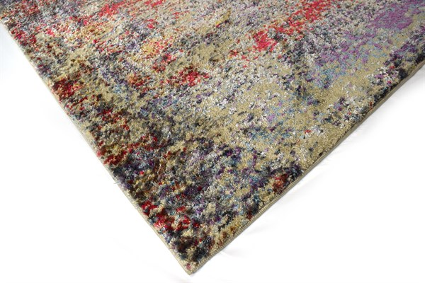 Red, Beige, Grey Transitional Area Rug