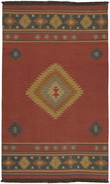 Dark Red, Navy, Camel, Dark Brown, Taupe, Rust Southwestern / Lodge Area Rug