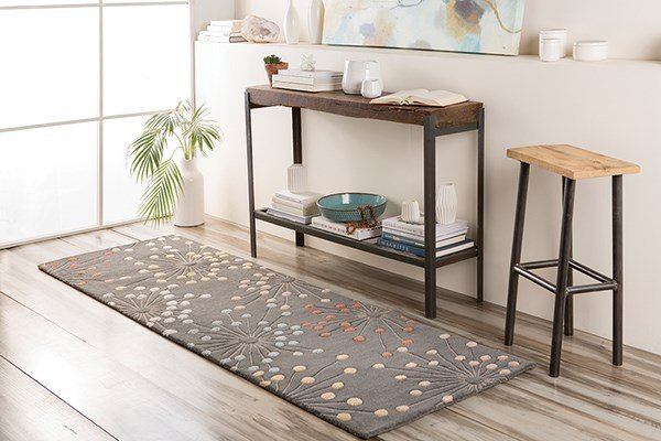 Charcoal, Cream, Beige, Camel, Rust Transitional Area Rug