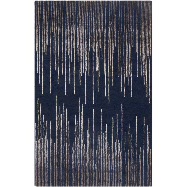Navy, Taupe, Camel Contemporary / Modern Area Rug