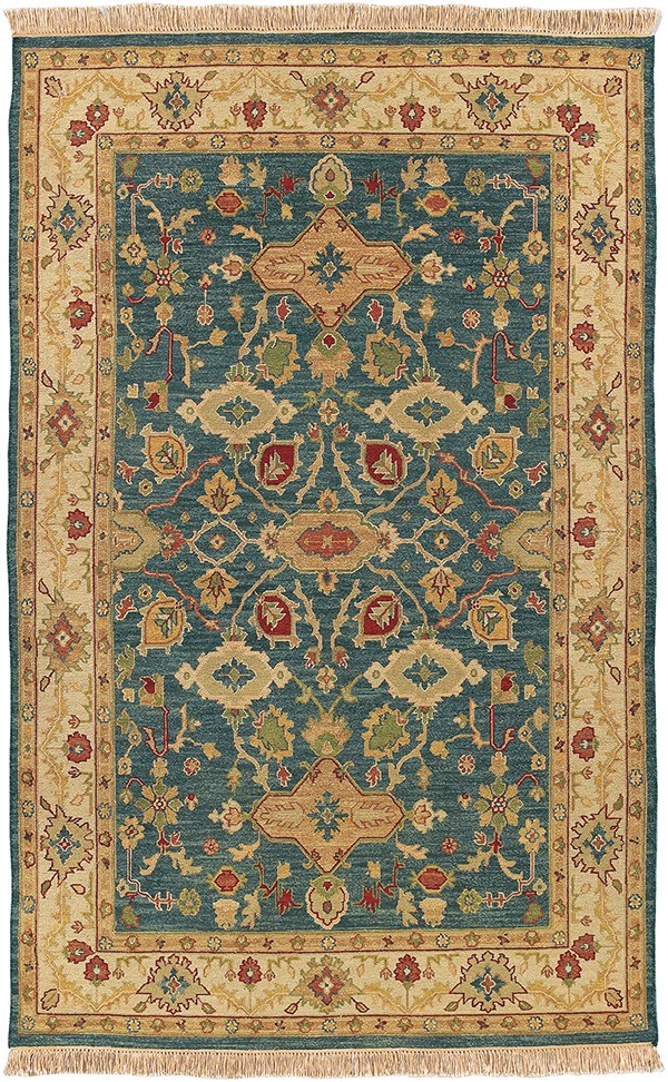 Camel, Blue, Grass, Mustard, Burnt Orange Traditional / Oriental Area Rug