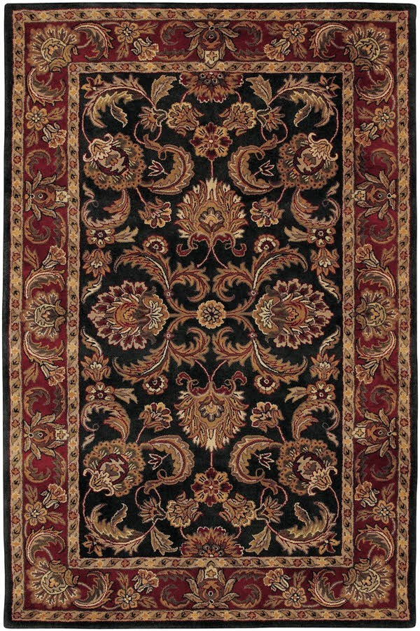 Black, Red Traditional / Oriental Area Rug