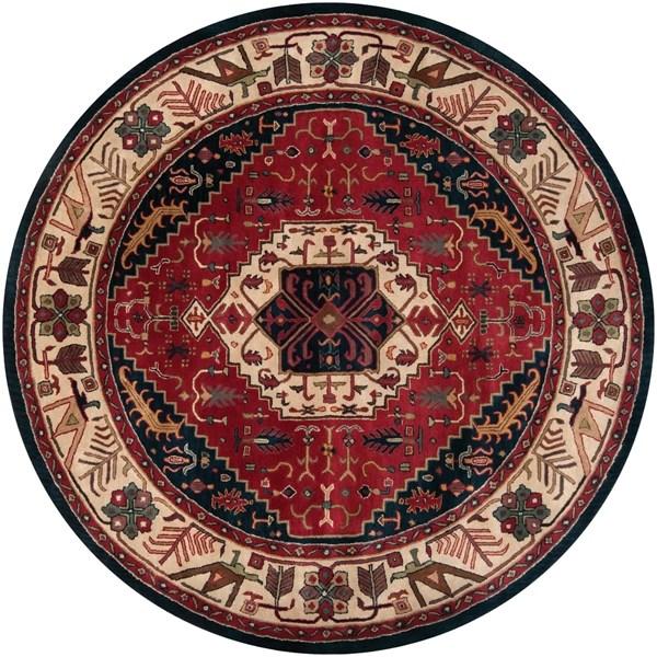Beige, Ruby  Traditional / Oriental Area Rug