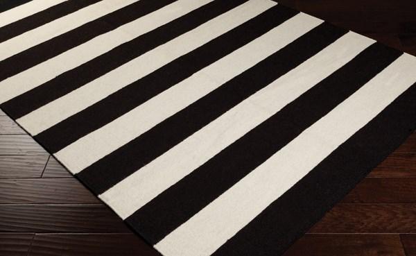 Black, White Striped Area Rug