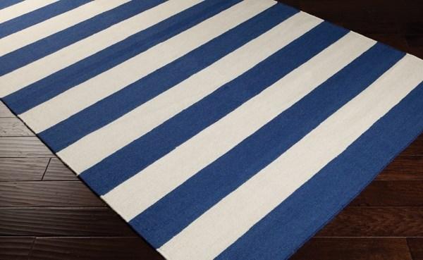 Dark Blue, White Striped Area Rug