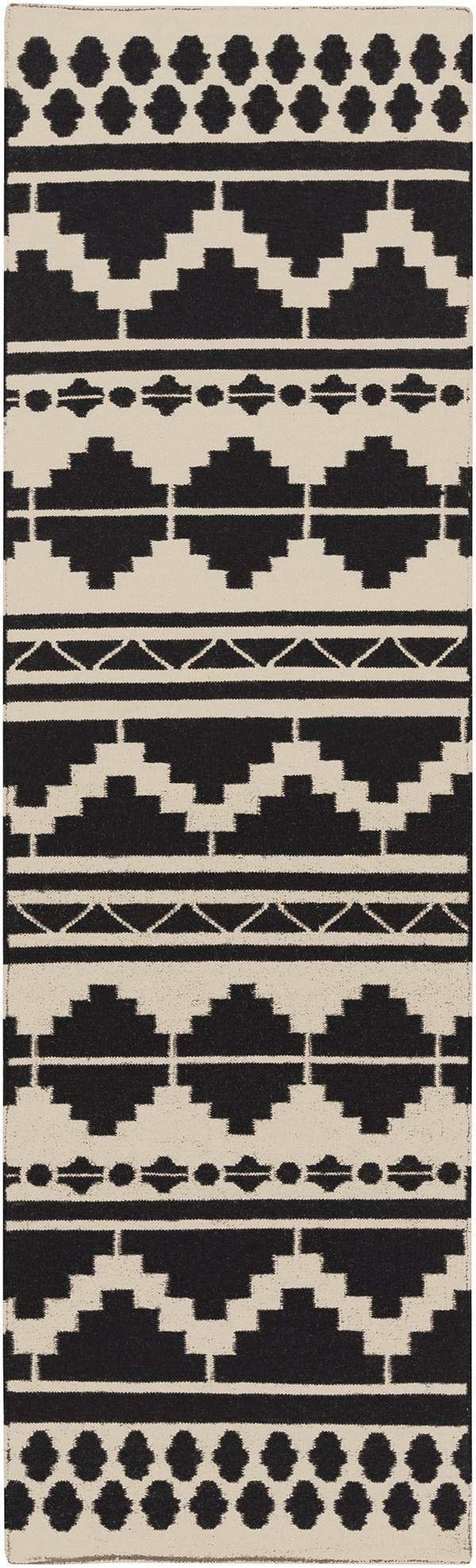 Taupe, Black Southwestern / Lodge Area Rug
