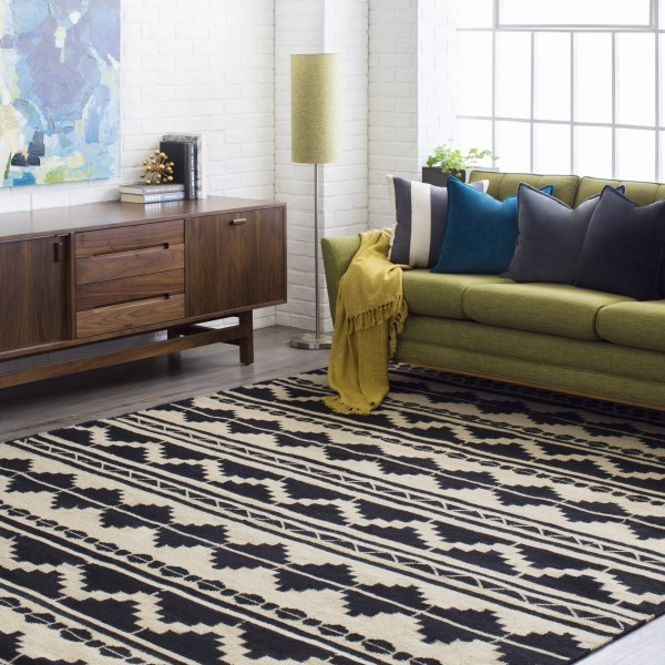 Taupe, Black Moroccan Area Rug