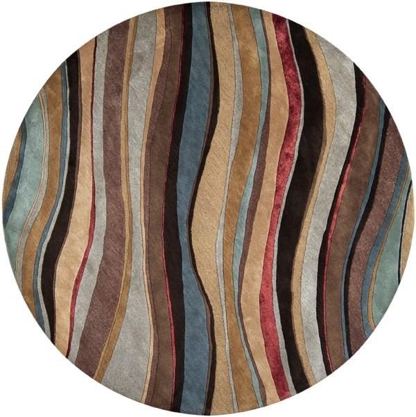 Mushroom, Blue, Tan  Contemporary / Modern Area Rug