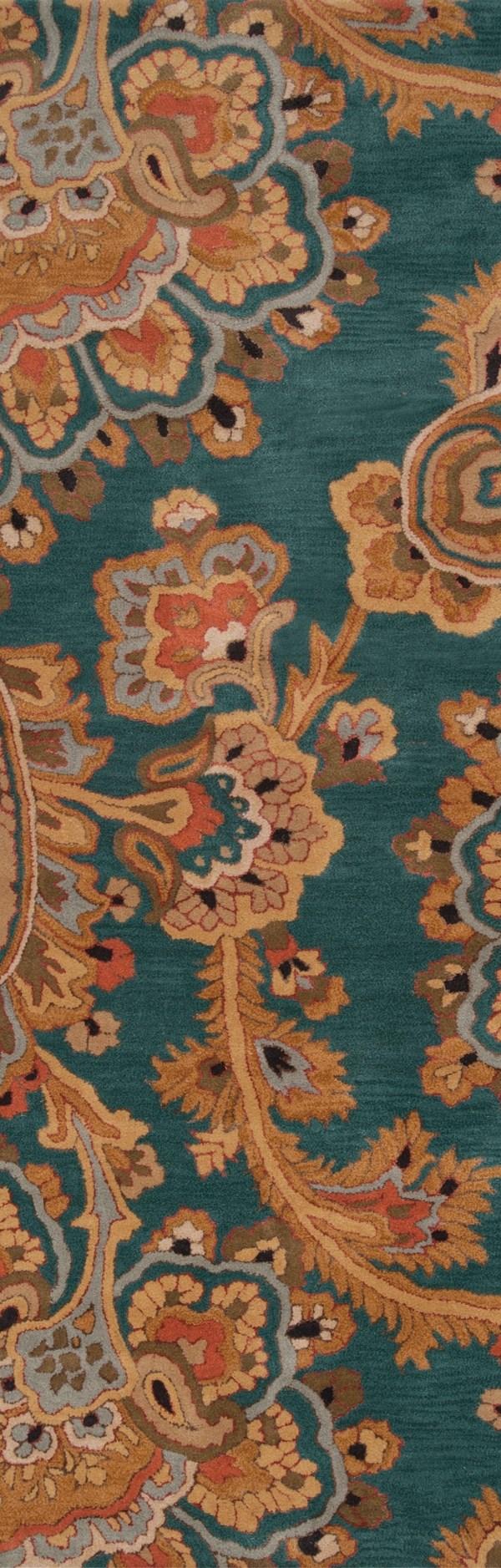 Teal, Camel, Dark Brown, Dark Red Traditional / Oriental Area Rug