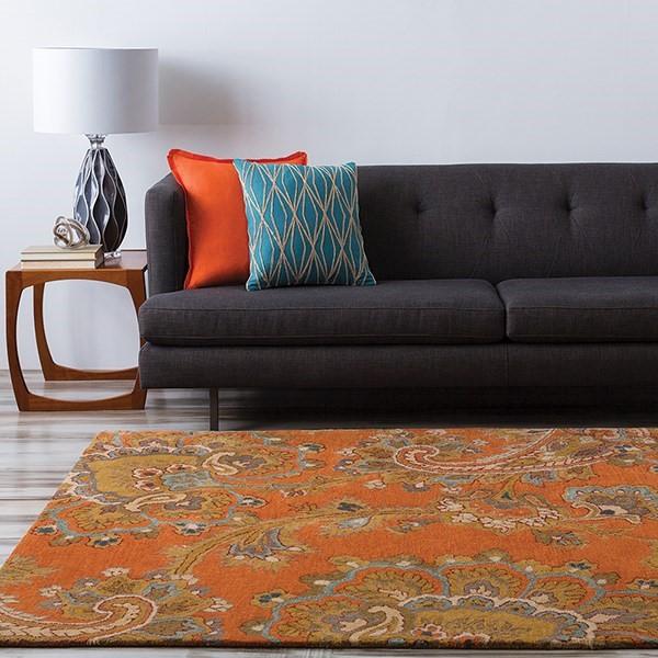Burnt Orange, Camel, Beige, Charcoal Traditional / Oriental Area Rug