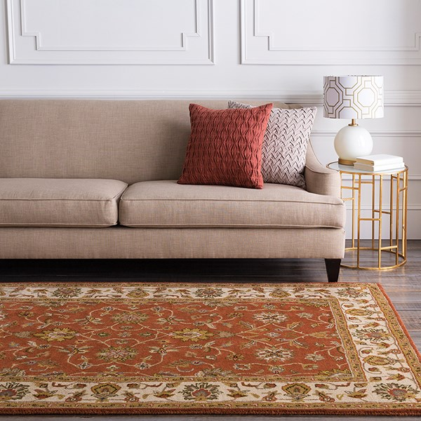 Terracotta, Beige Traditional / Oriental Area Rug