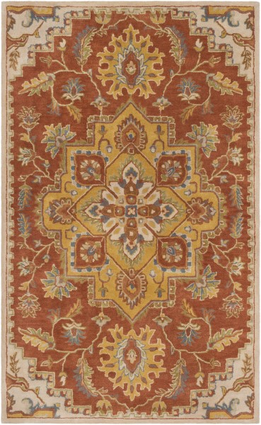 Clay, Mustard, Olive, Taupe Traditional / Oriental Area Rug
