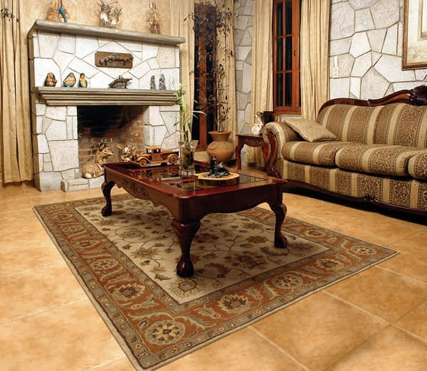Golden Beige, Rust Traditional / Oriental Area Rug