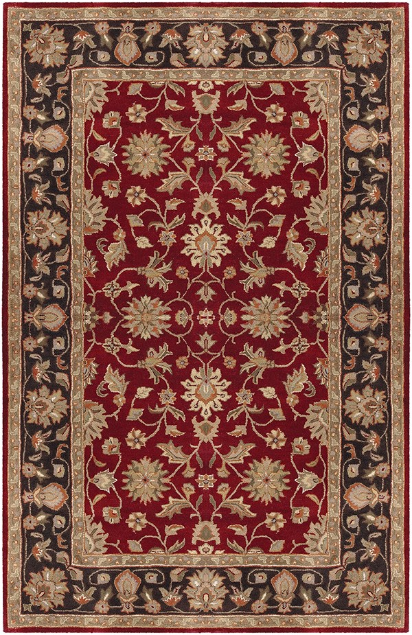 Burgundy, Black Traditional / Oriental Area Rug
