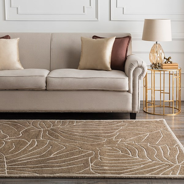 Tan, Beige Floral / Botanical Area Rug
