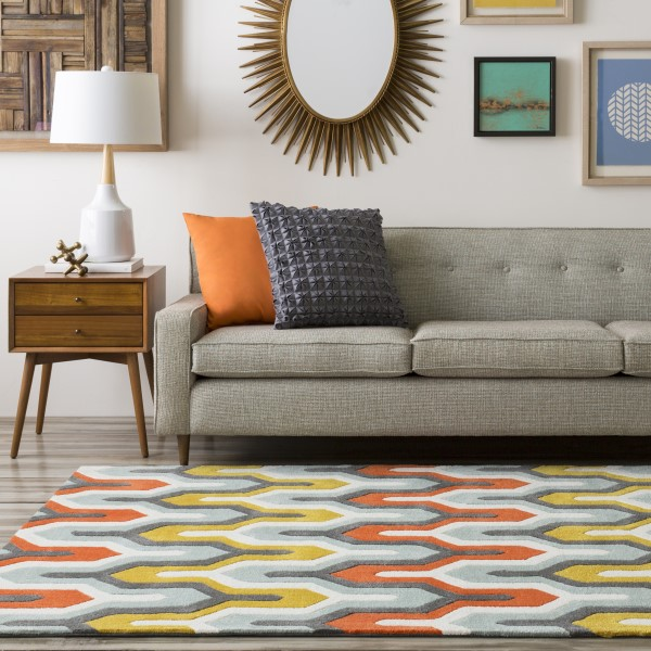 Pewter, Orange Red, Foggy Blue Contemporary / Modern Area Rug