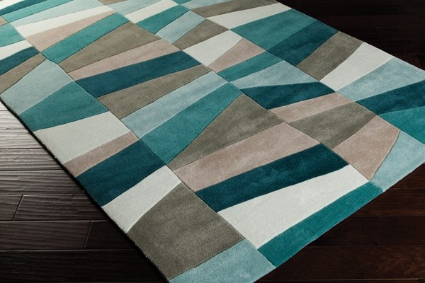 Turquoise, Mossy Stone Contemporary / Modern Area Rug