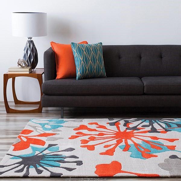 Dove Gray, Orange Red, Sea Blue Contemporary / Modern Area Rug