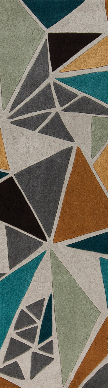 Dove Gray, Sea Blue, Peanut Butter Contemporary / Modern Area Rug