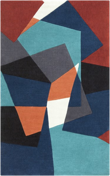 Midnight Blue, Teal, Copper Penny Contemporary / Modern Area Rug
