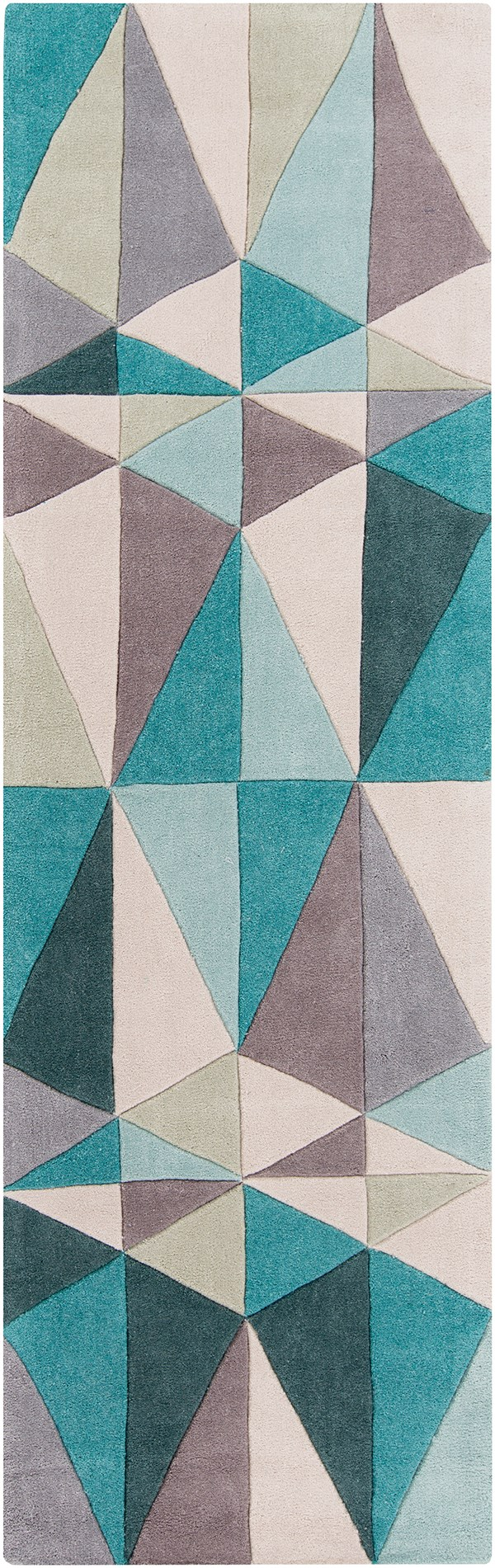 Teal Blue, Blue Haze, Parchment Contemporary / Modern Area Rug