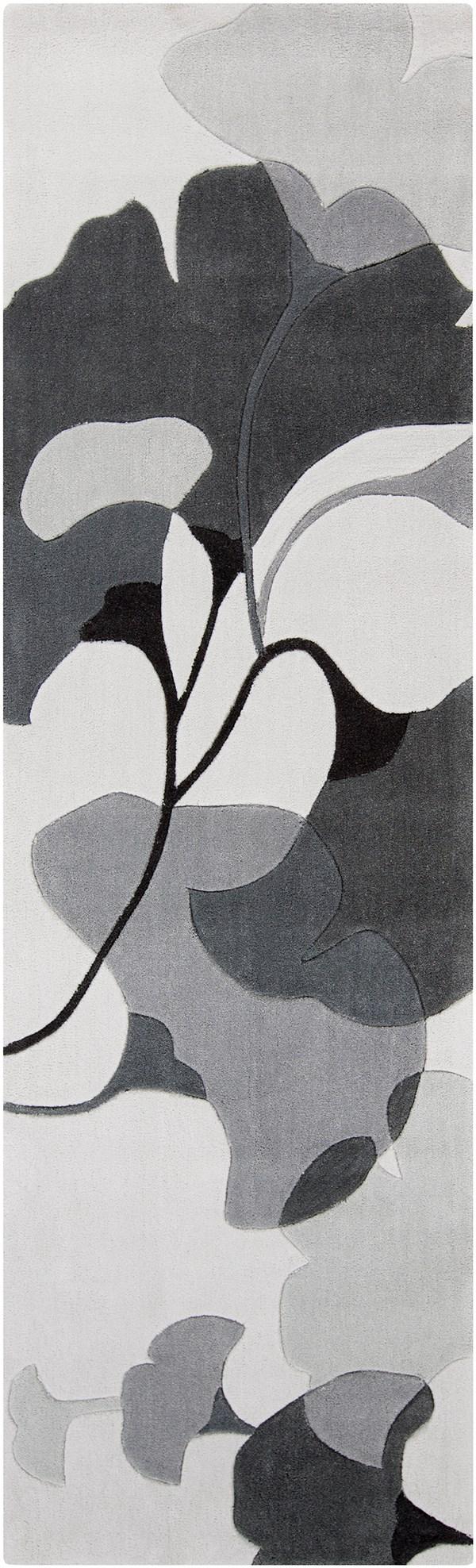 Icicle, Flint Gray, Iron Ore Floral / Botanical Area Rug