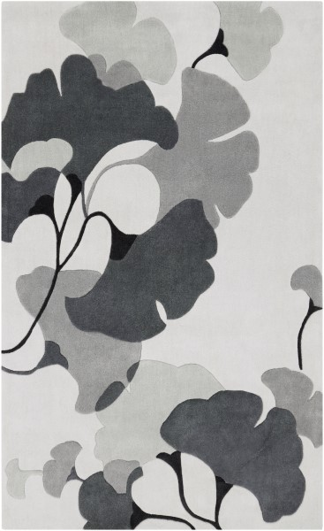 Medium Grey, Ivory, Light Grey Floral / Botanical Area Rug