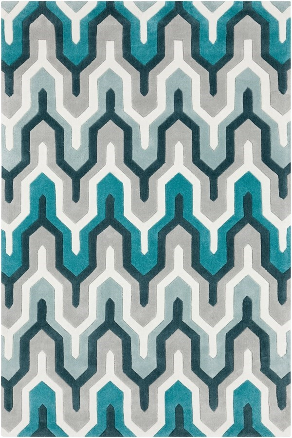 Ice Blue, Turquoise, Silvered Gray Contemporary / Modern Area Rug