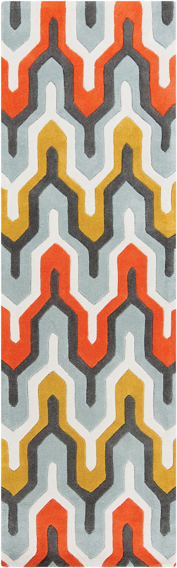 Pewter, Orange Red, Foggy Blue Moroccan Area Rug