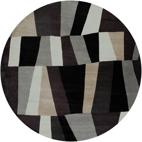 White, Charcoal Gray, Caviar Contemporary / Modern Area Rug