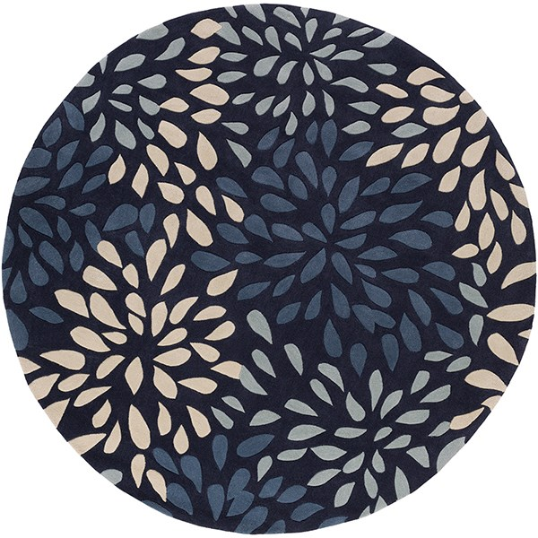 Navy, Dark Blue, Khaki Contemporary / Modern Area Rug