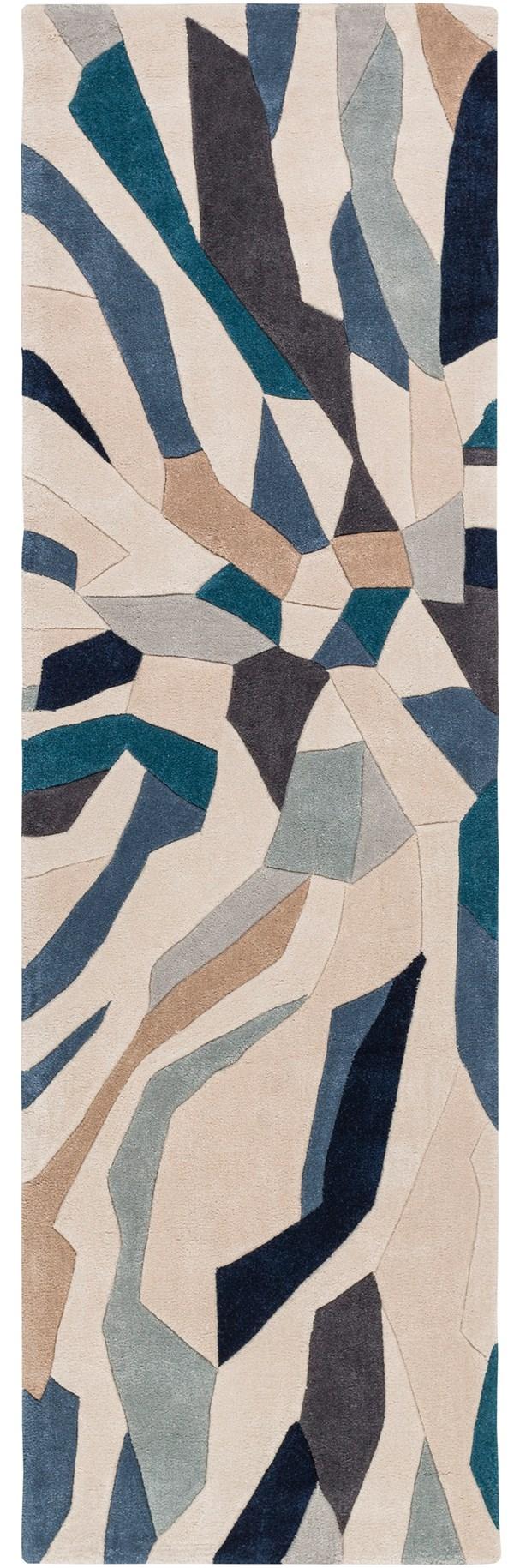 Taupe, Navy, Ivory, Bright Blue, Denim Contemporary / Modern Area Rug
