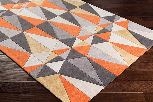 Bright Orange, Charcoal, Taupe Contemporary / Modern Area Rug