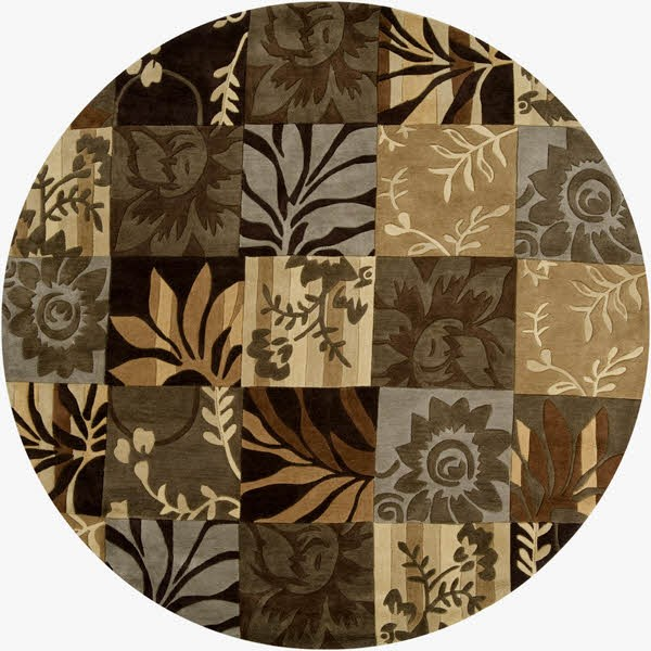 Dark Brown, Camel, Khaki Floral / Botanical Area Rug