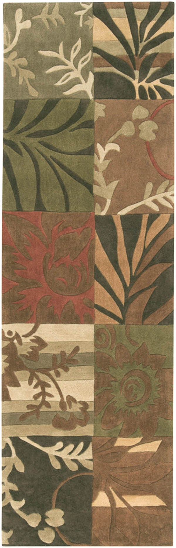 Avocado, Khaki, Dark Brown Contemporary / Modern Area Rug