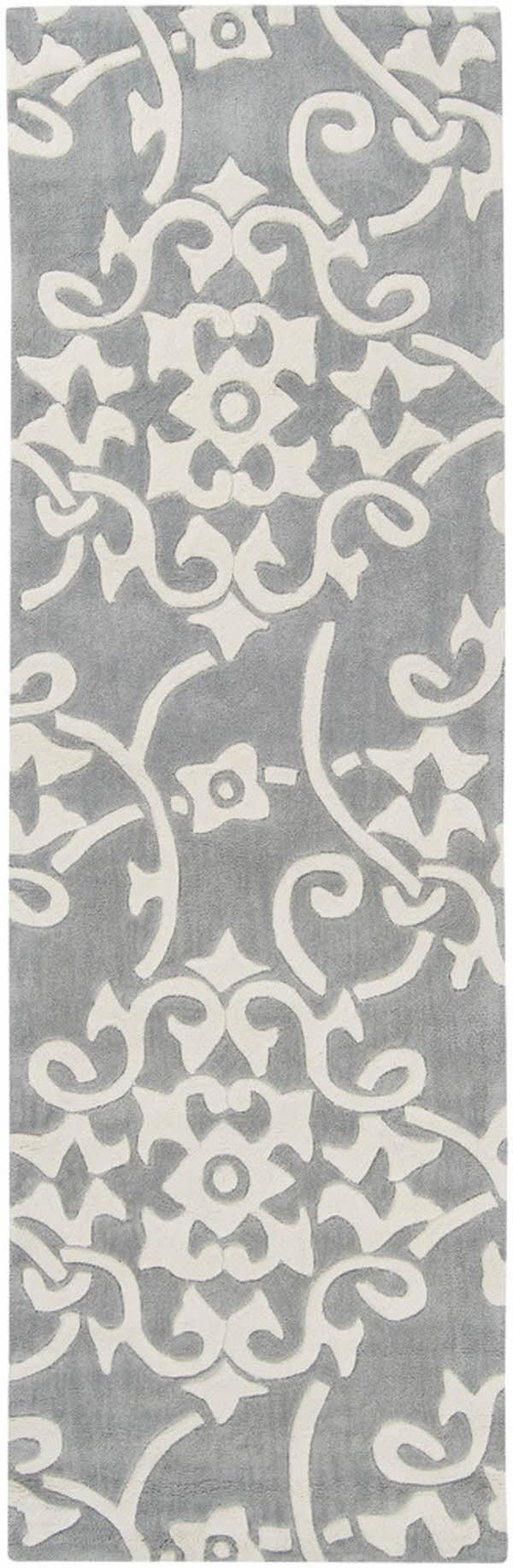 Silver Gray Damask Area Rug