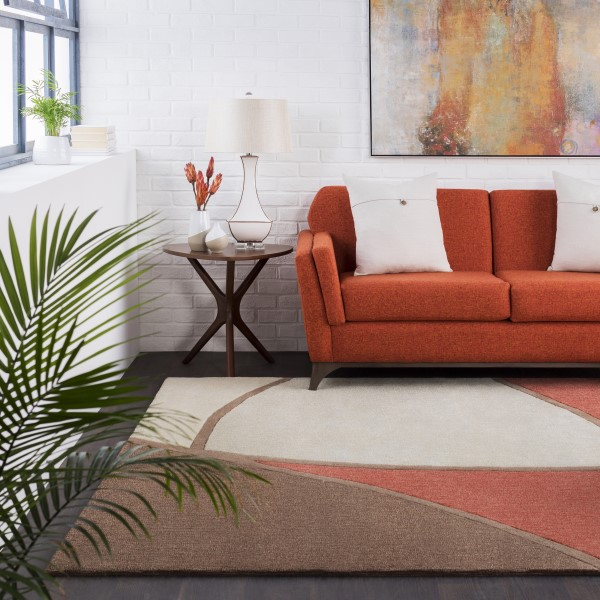 Rust, Brown, Taupe Contemporary / Modern Area Rug
