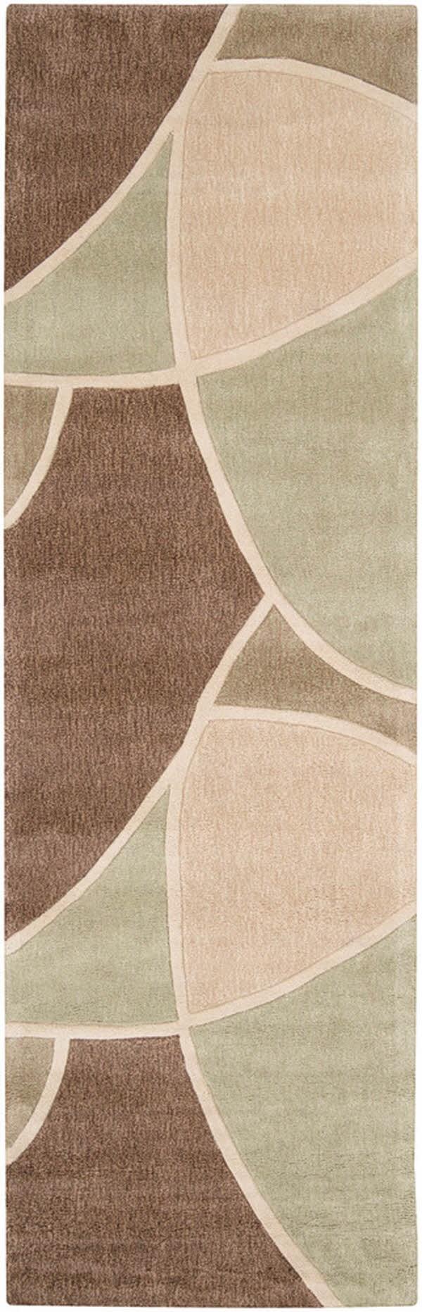 Brown, Tan, Light Green Contemporary / Modern Area Rug