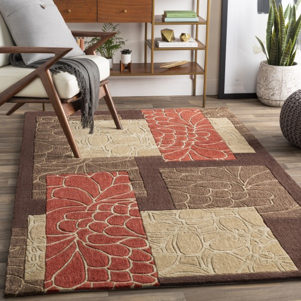 Brown, Beige, Rust Contemporary / Modern Area Rug