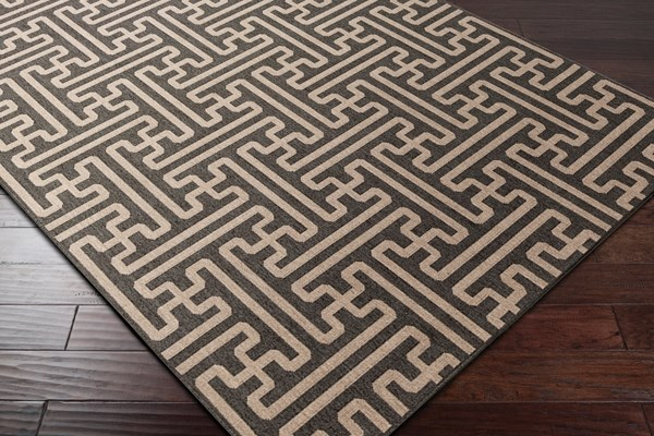 Black, Camel Transitional Area Rug
