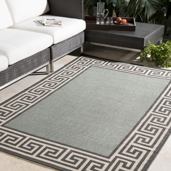 Sage, Black, Cream Bordered Area Rug