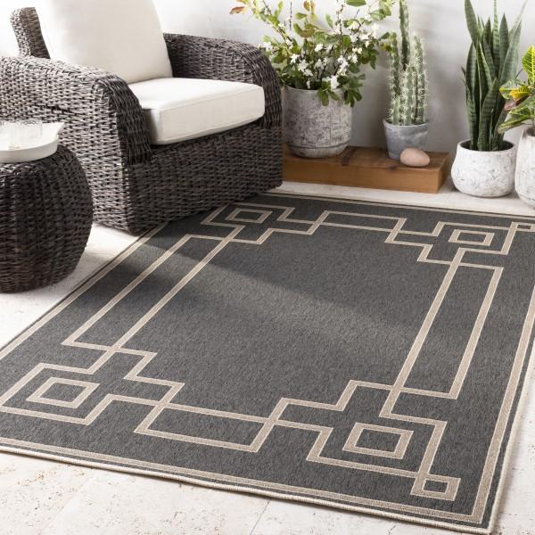 Black, Camel, Cream Contemporary / Modern Area Rug