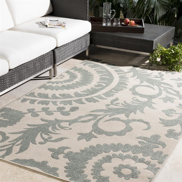 Sage, Cream Contemporary / Modern Area Rug