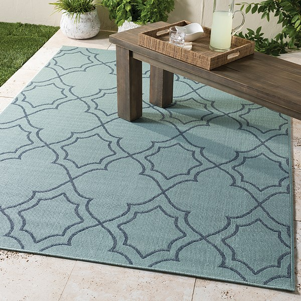 Aqua, Charcoal Outdoor / Indoor Area Rug