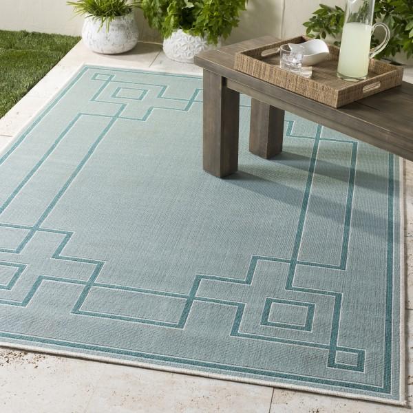 Aqua, Teal, White Contemporary / Modern Area Rug