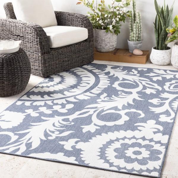 Charcoal, White Outdoor / Indoor Area Rug